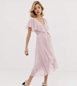 944ceafa5f Asos DESIGN Petite midi dress with cape back and dipped hem