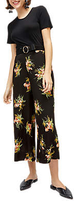 Warehouse Tropical Bunch Culottes, Black Pattern