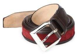 Sutor Mantellassi Truman Veloucal Adjustable Leather & Suede Belt