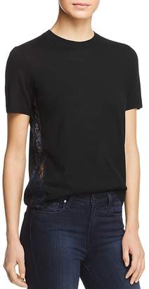 Tory Burch Ruby Lace-Inset Short-Sleeve Sweater