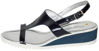 Lady Doc Patent-Blue T-Bar Sandal