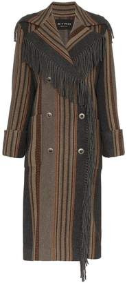 Etro fringed stripe double-breasted coat