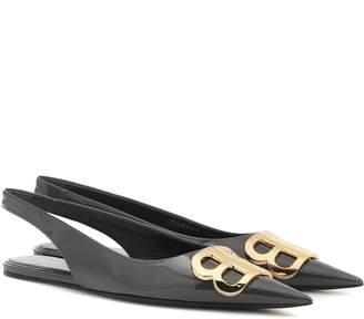 Balenciaga BB patent leather slingback ballet flats