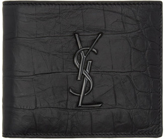 Saint Laurent Black Croc Monogram East West Wallet $425 thestylecure.com