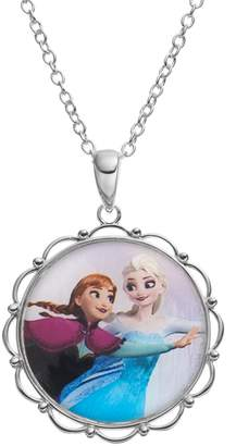 "Disney Disney's Frozen Anna & Elsa Silver-Plated ""Sisters Forever"" Pendant Necklace"