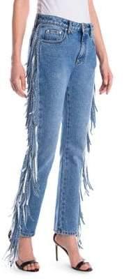 MSGM Fringe Straight-Leg Jeans