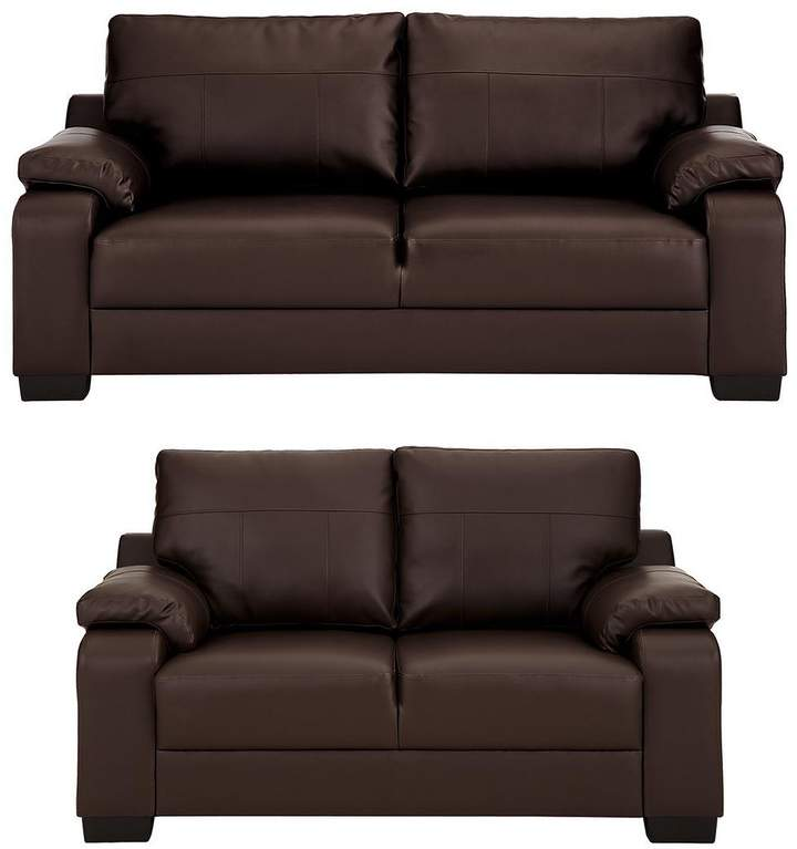 Dino 3 Seater + 2 Seater Faux Leather Compact Sofa Set