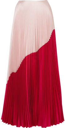 Reem Acra - Two-tone Pleated Silk And Wool-blend Taffeta Maxi Skirt - Red