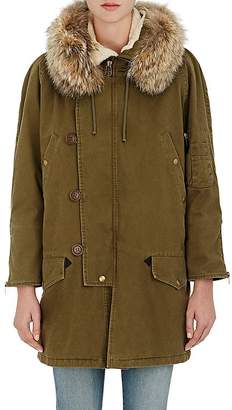 Saint Laurent Women's Fur-Trimmed Gabardine Parka