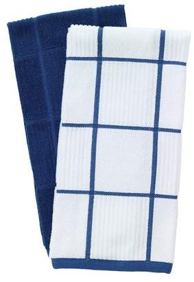 T-Fal 2 Piece Solid and Check Parquet Kitchen Dishcloth Set