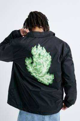 Santa Cruz Flame Hand Black Coach Jacket - black S at Urban Outfitters