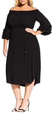 City Chic Plus Off-The-Shoulder A-Line Midi Dress