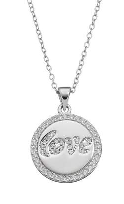 "Qnotes qnotes Cubic Zirconia Sterling Silver ""Love"" Disc Pendant Necklace"