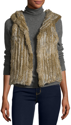 525 America Hooded Rabbit Fur Vest, Natural $265 thestylecure.com