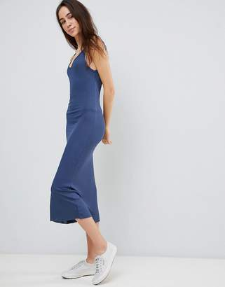 Brave Soul Ella Low Back Midi Dress in Rib