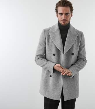 Reiss BOGART DOUBLE BREASTED PEACOAT Soft Grey