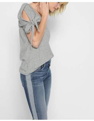 7 For All Mankind Bow Tie Sleeve Tee In Heather Grey