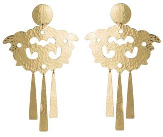 Josie Natori Hammered Brass Swirl Fringe Earrings
