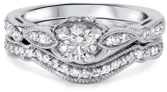 Pompeii3 3/4ct Diamond Engagement Wedding Ring Set 14K White Gold