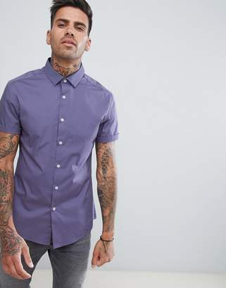 Asos Design Skinny Shirt In Purple
