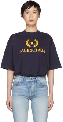Balenciaga Navy BB Crown Logo T-Shirt