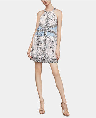 BCBGMAXAZRIA Print-Blocked A-Line Dress