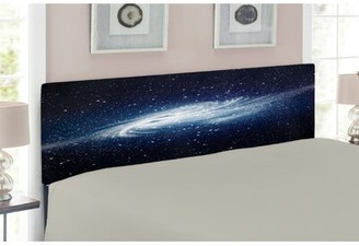 East Urban Home Ambesonne Outer Space Headboard For Twin Size Bed, Watching A Meteor Rain From A Wooden Dock Under The Sun Rays Image, Upholstered Decorative Metal He