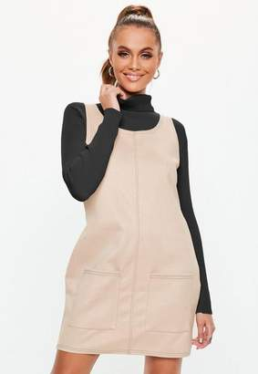 Missguided Cream Pinafore Faux Suede Dress