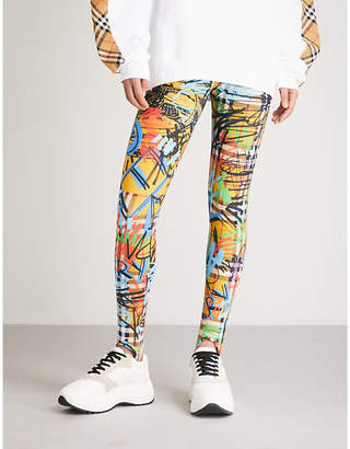 Burberry Graffiti-print stretch leggings