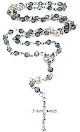 Black Diamond K.D. Rosaries 6mm Swarovski Crystal Rosary