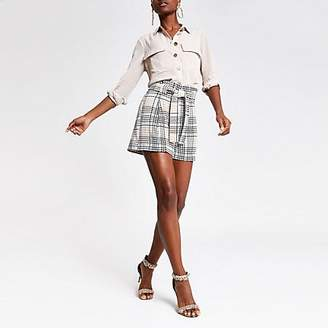 River Island Blue check belted shorts
