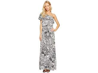 Maggy London One-Shoulder Ruffle Maxi Dress Women's Dress