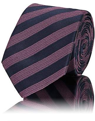 Lanvin Men's Striped Silk Necktie - Purple