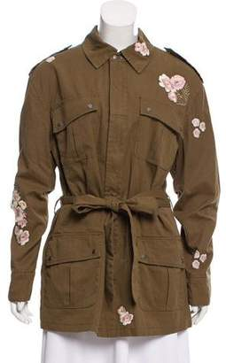 Rebecca Minkoff Floral-Embroidered Zip-Up Jacket w/ Tags