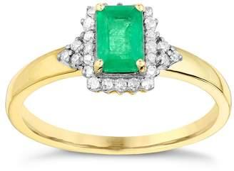 9797fcf99 H Samuel 9ct Yellow Gold Rectangular Emerald & Diamond Ring