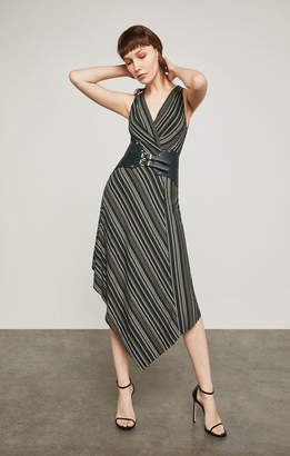 BCBGMAXAZRIA Asymmetrical Faux-Wrap Dress