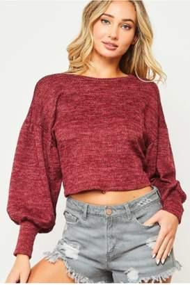 Peach Love Crop Open Back Sweater