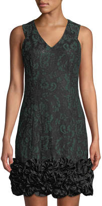 Donna Ricco Bonded Lace Ruffle-Hem Cocktail Dress