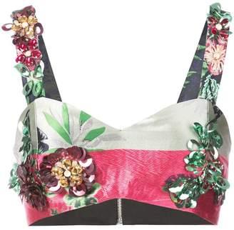 Patbo embellished jacquard crop top