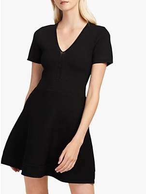 443c6fd5937 French Connection Ellie Fitted Flared Dress, Black
