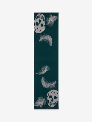 Alexander McQueen Oversized Skull and Feather Scarf
