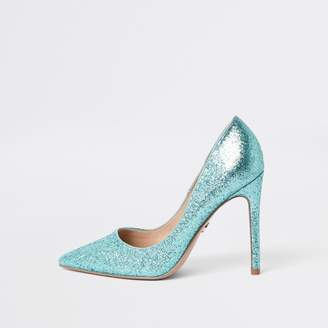River Island Womens Blue glitter court shoes