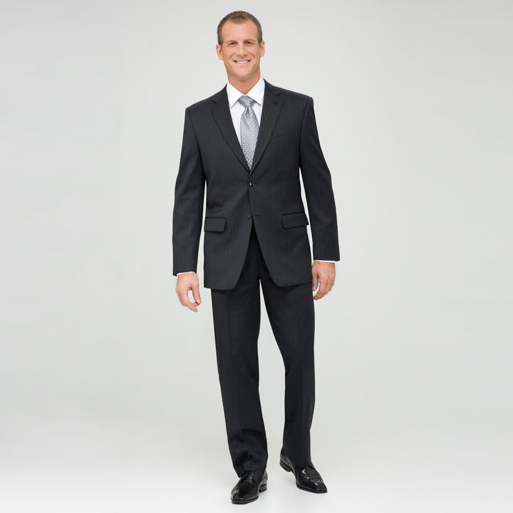 Jones New York Charcoal Flat Front Shadow Striped Wool Suit