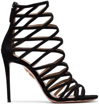 Aquazzura Black Knockout 105 Suede sandals