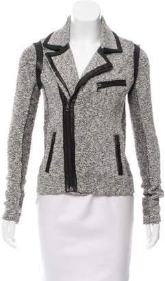 Rag & Bone Bouclé Knit Leather-Trimmed Jacket