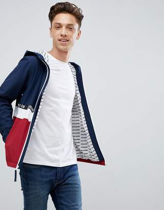 Hollister lightweight hooded jacket colourbock taping and seagull logo in navy/red