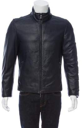 Canali Deerskin & Goose Feather Reversible Bomber Jacket