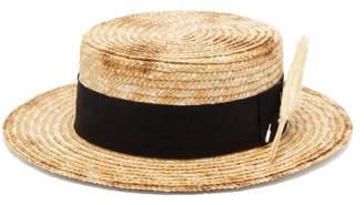 Ruslan Baginskiy Wheatsheaf Embellished Straw Boater Hat - Womens - Beige