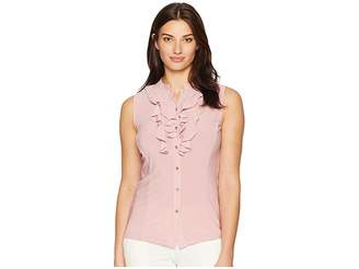 Tahari ASL Stand Collar Sleeveless Double Ruffle Knit Top Women's Sleeveless