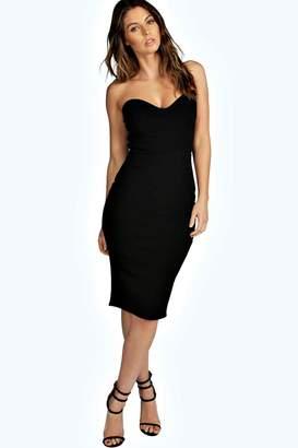 boohoo Viola Crepe Bandeau Bodycon Dress $26 thestylecure.com